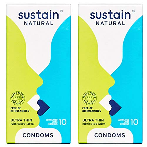 Sustain Natural Latex Condoms - Ultra Thin - FDA Cleared - Nitrosamine Free - Non GMO - Fair Trade - 20 Count