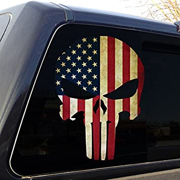 American Flag Skull Decal Military Window Sticker Car Truck Graphic