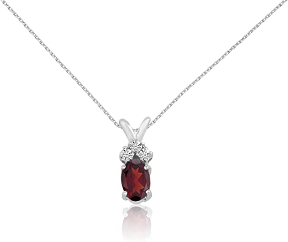 "14k White Gold Oval Garnet And Diamond Filigree Pendant with 18/"" Chain"