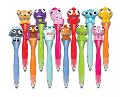 Inkology Bug Eye Pens, 6.25 x 1.5 x 1.5 Inches Each, 12 Pack, Assorted Colors, 171-3