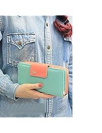 Bessky® Birds Clutch Wallet Leather Case Long Zip Button Card Purse Handbag (Light Blue)