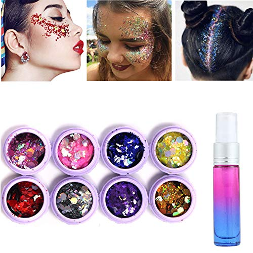 Holographic Body Glitter Tattoos 8 Boxes Face Glitter Set with Long Lasting Spray Fix Gel, Festival Party Makeup Body Art Perfect Blend of Glitters for Hair, Face, Eyeshadow, Nail