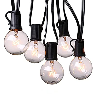 Icicle Globe String Lights, Connectable 25Ft G40 Crystal Bulbs by UL for Indoor/Outdoor, Patio, Lawn, Garden, Party, Wedding, Bistro Café, Seasonal Holiday and Christmas (Black)