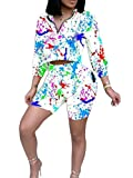 S-Fly Women Crop Tops Floral Shorts Jogger 2-Piece Sets Tracksuits White M