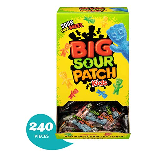 240 Count Bulk SOUR PATCH KIDS Sweet and Sour Halloween Candy, Trick or Treat Individually Wrapped Packs -