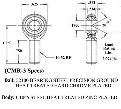 QSC CMR-3 3//16 X 10-32 Economy Male RH Rod End