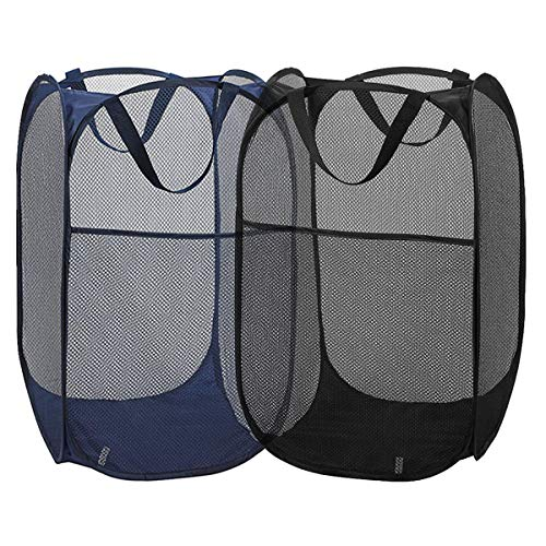 2 Packs Mesh Pop up Laundry Hamper (Black/ Navy Blue) with Portable, Durable Handles, Collapsible for Storage, Folding Pop-Up Clothes Hampers for Kids Room, College Dorm or Travel ()