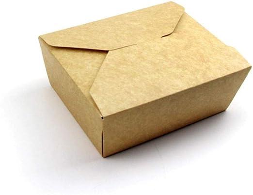 gyx 200 Piezas Caja de Almuerzo de Papel Kraft Caja de Almuerzo ...