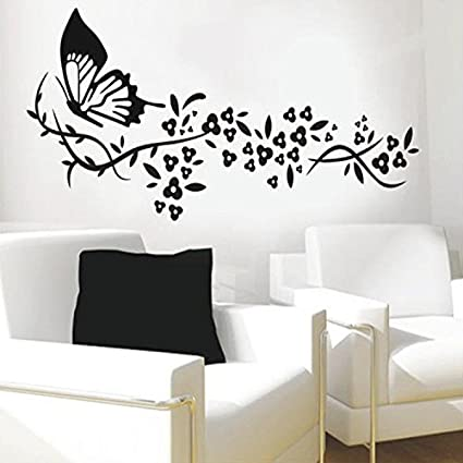 Mr.S Shop Wall Sticker Black Butterfly Flower Living Room Vinyl Wall Art  Decals Bedroom 3D Wall Stickers Decoration Wallpaper