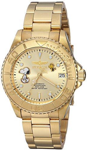 Invicta Women's Character Collection Automatic-self-Wind Watch with Stainless-Steel Strap, Gold, 18 (Model: 24795