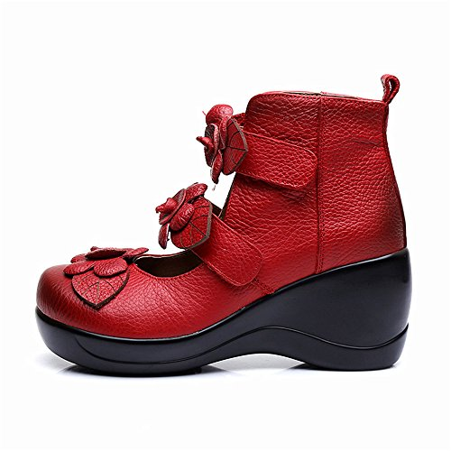 CUNZHAI Women's Unique Handmade Leather Casual Travel Soft Bottom Boot Red clearance many kinds of cheap sale wide range of from china cheap online cheap discounts 60k0S81J
