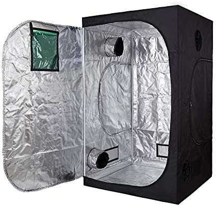 GreenHouser 60 X60 X80 600D Reflective Mylar Hydroponics Indoor Grow Tent Room with Observation Window for Indoor Flower Veg Plants Growing