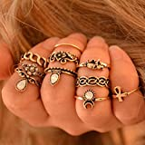 10PCS/Set Punk Vintage Women Knuckle Rings Tribal Ethnic Hippie Stone Joint Ring LOVE STORY (Gold)