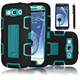 EC Triple Layer Hybrid Impact Silicone Armor Shockproof Kickstand Defender Case for Samsung galaxy S3 i9300 Bundle with Stylus (Blue/Black)