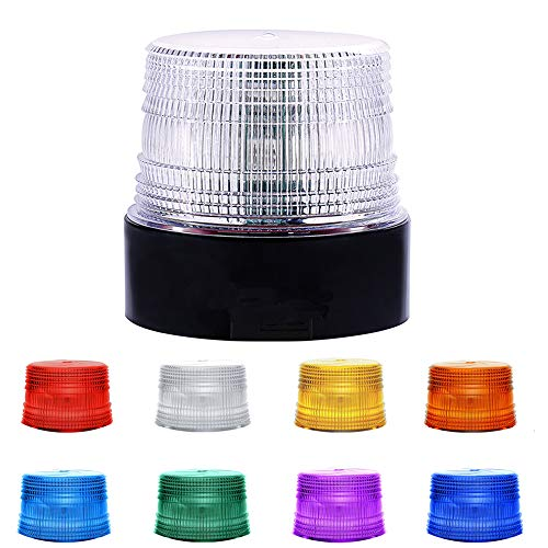 LED Beacon Strobe Light, Dinfu 8 Colors Adjustable Emergency Rotating Strobe Light with Magnetic Base for DC 12-80 V Cigarette Lighter Plug Vehicles (Clear) (Wireless Strobe Light) ()