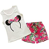 MH-Lucky Baby Girl Clothes Outfits Short Sets 2 Pieces with T-Shirt + Short Pants