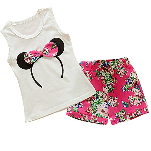 Baby Girl Clothes Outfits Short Sets 2 Pieces with T-Shirt + Short Pants (Red, 18-24 ()