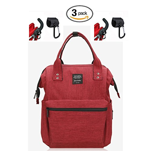 Waterproof Backpack with 2 Stroller Hooks - Durable, Stylish, Large Capacity - Diaper Bag, Maternity Travel, Multi-Function (Dark Cherry - M Kors Uk