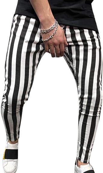 Personalidad De Los Hombres Pantalones Deportivos De Rayas Blancas Negras Con Cordon Elastico En La Cintura Amazon Es Ropa Y Accesorios