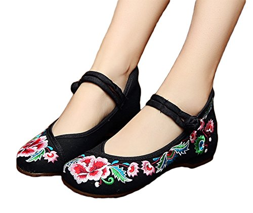 Avacostume Ragazze Ricamate Sul Collo Del Piede Mary Jane Shoes Dress Shoes Party Shoes Black