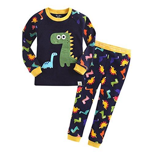 YISUMEI Children's Pajamas Thermal Underwear Cute Dinosaur Navy 5T