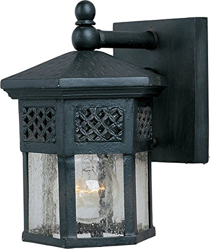 Maxim 30122CDCF Scottsdale 1-Light Outdoor Wall Lantern, Country Forge Finish, Seedy Glass, MB Incandescent Incandescent Bulb , 100W Max., Dry Safety Rating, Standard Dimmable, Glass Shade Material, 5750 Rated Lumens