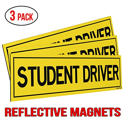 (Classic Biker Gear Reflective Student Driver Magnets for Car - Set of 3)
