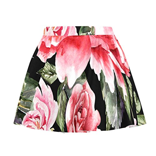 My Little Nest Women's A Line Watercolor Roses and Peonies Pleated Skirt With Elastic Waist XXXL (Skirt Print Watercolor Rose)