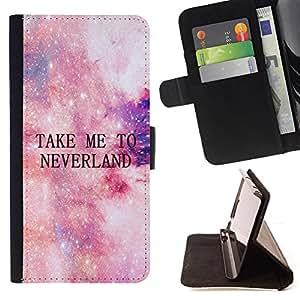 BullDog Case - FOR/Samsung Galaxy S6 / - / take me to neverland stars cosmos sky /- Monedero de cuero de la PU Llevar cubierta de la caja con el ID Credit Card Slots Flip funda de cuer