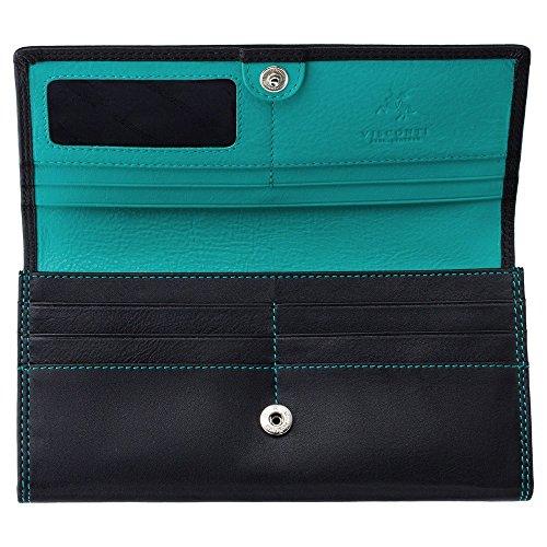 Visconti Cd21 Quality Soft Leather Wallet / Purse / Clutch / Holder (Black/Aqua-Blue)