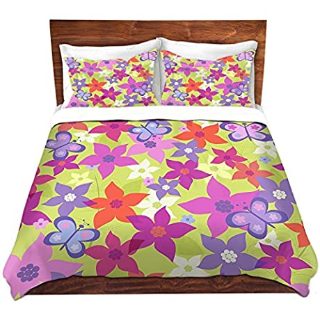 DiaNoche Designs Grifol Happy Garden II Unique Bedding Ideas Cover Brushed Twill Twin Queen 8 King Duvet Sham Set