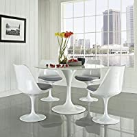 Modway Lippa 5 Piece Fiberglass Dining Set in Gray