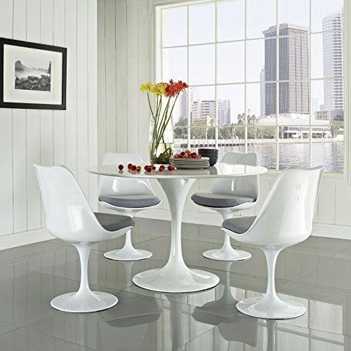 Modway Lippa 5 Piece Fiberglass Dining Set in Gray