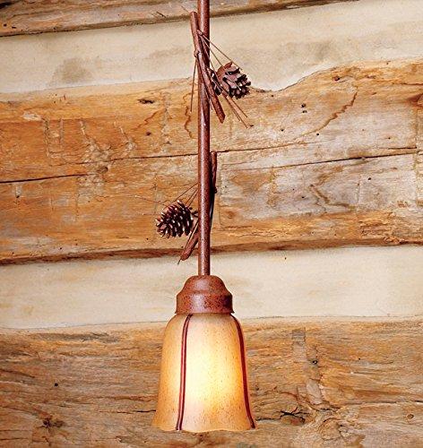 Pendant 2 Pinecone Light (Pinecone Pendant Light - 12 Inch Rod with 2 Pinecones)