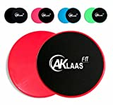 AKLAAS Fit Core Sliders Exercise Gliding Discs Dual Sided for use on Carpet, Hardwood or Virtually Any Surface. Workout Sliders – Perfect Abdominal Exercise Equipment for All Body Workout [RED]