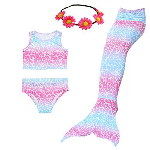 2019 3 Pcs Mermaid Costume for Girls Bathing Swimsuit Swimwear Princess Sea-Maid Bikini Set (Youth Large (fits Like 7-8), Whitepink)