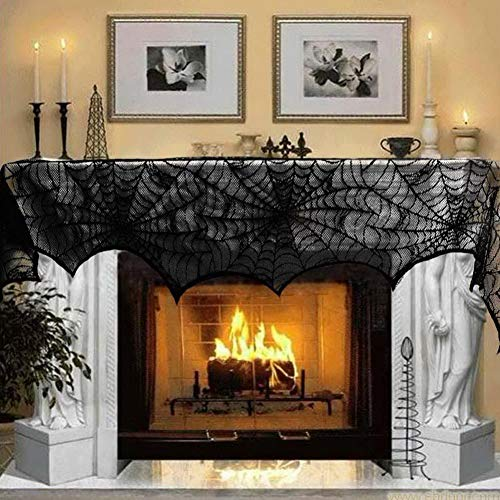 Likense Halloween Decorations Spiderweb Rectangular Spooky Bat Lace Tablecloth Black, Lace Table Fireplace Scarf Cover for Halloween Party Window Dinner Party Festival Party Scary Movie Nights