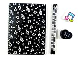 Music Themed Stationery - Black Musical Notes Notebook, HB pencils, eraser and sharpener set