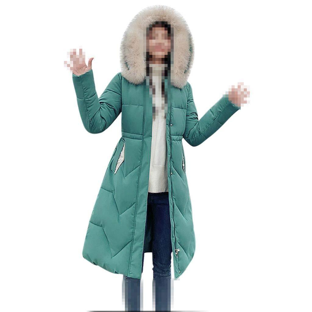 Dainzuy Women's Coats Fashion Outerwear Long Cotton-Padded Down Jackets Zip Faux Fur Hooded Parkas with Pocket Green by Dainzuy Womens Outerwear