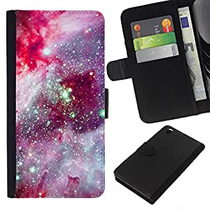 KingStore / Leather Etui en cuir / HTC DESIRE 816 / Violet Rose Night Sky