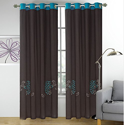 Fancy linen 2panel curtain set Embroidery brown Turquoise with grommet 120