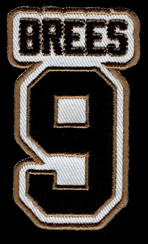 Drew Brees No. 9 Patch - Jersey Number Football Sew or Iron-On Embroidered Patch 1 3/4 x 2 3/4