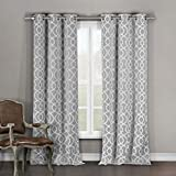 Duck River Textiles - Home Fashion Geometric Blackout Room Darkening Grommet Top Window Curtains Pair Panel Drapes for Bedroom, Living Room - Set of 2 Panels - 36 X 84 Inch - Grey