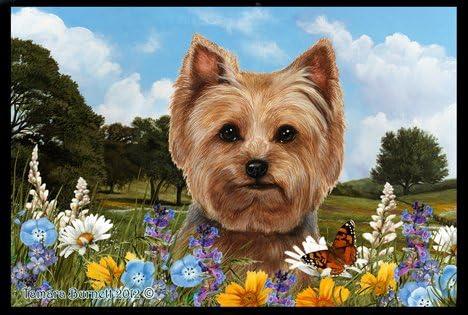 Best of Breed Yorkie Puppy Cut Summer Flowers Floor Mat