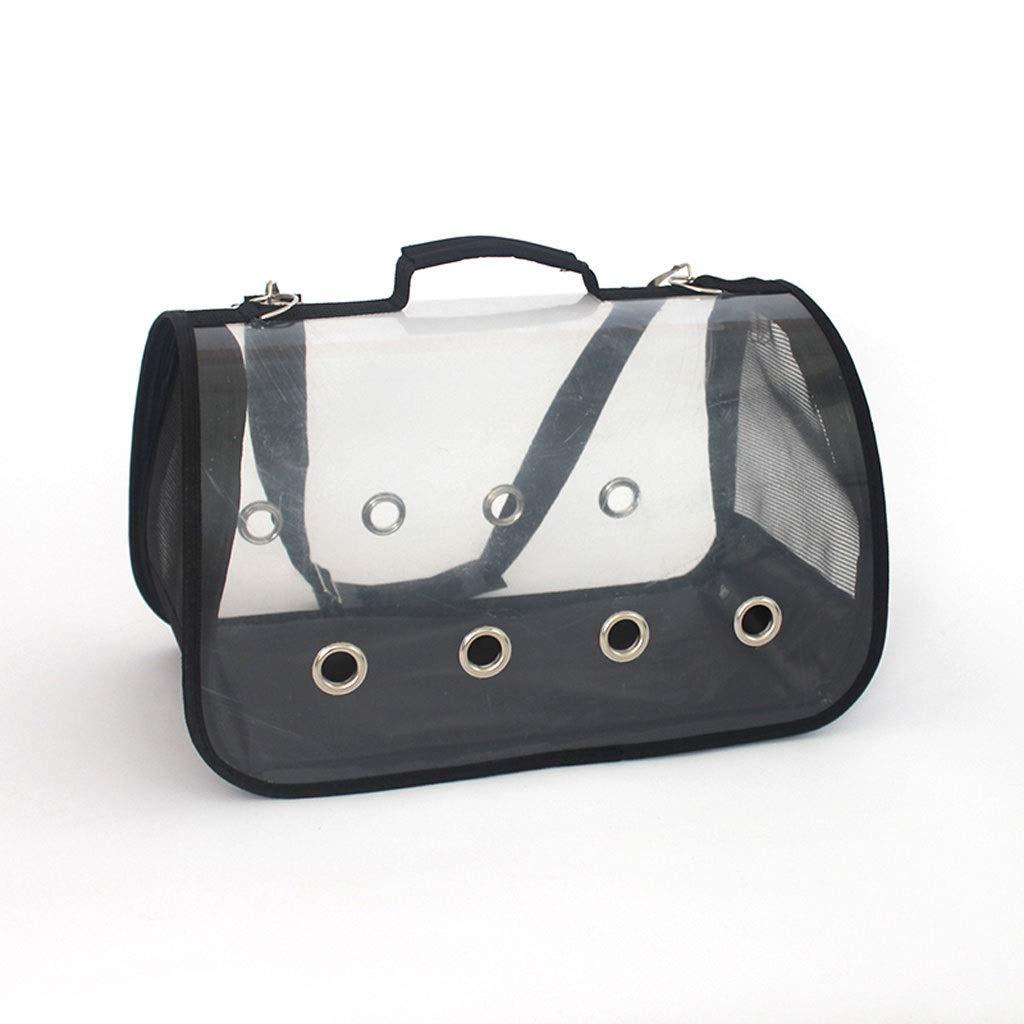 Black L(452326cm)Pet Carrier Transparent, Handbag, Shoulder Package Travel Bag for Puppy Dogs Cats, Comfort Portable Soft Sided Foldable with for Plane Car Train Travel. (color   bluee, Size   S(32  17  18cm))