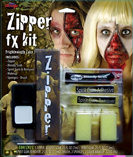 Fun World Unisex-Adult's Zipper Fx Makeup Kit, Multi, Standard