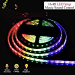 LED Strip Lights,SOLMORE Sound Activated RGB 16.4ft/5M SMD5050 300 Leds Strip Kit,Flexible Waterproof Rope Lights,with 24 key IR Controller+12V 5A Power Supply Home Kitchen DIY Lights from SOLMORE