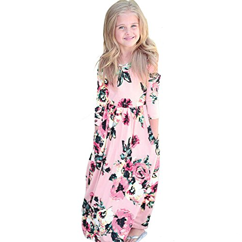 Girls Flower Print Dress 3/4 Sleeve Pleated Casual Swing Long Maxi Dress with Pockets Summer Spring Dresses 2-5Y (Pink, 5T (4-5 Years)) by Cealu (Image #1)