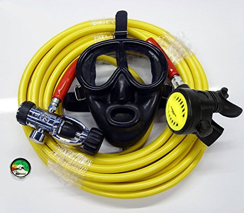 Scuba Diving Kayak Dive Kit with Regulator Silicone Full Face Mask 50' Long Hose Gauge Hookah Diving Third Lung Commercial Boat Cleaning ()