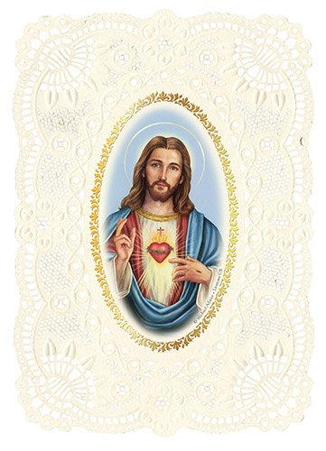 Sacred Heart of Jesus Lace Prayer Holy Cards - Morning Offering to the Sacred Heart Prayer - Artist Michael Adams on Delicately Embossed and Lace-Punch Cardstock - 36 PACK - YS782
